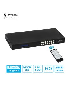 Portta® HDMI™ Matrix 4x4 HDMI 2.0 HDR 4K 60HZ Matrix Switch Splitter YUV 444 COAX Audio Extractor with LCD Screen Support Full 3D HDCP2.2/1.4 EDID RS232 IR GUI and TCP/IP control Firmware Upgradable 4 Port 4 In 4 Out