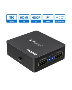 Portta® 1x2 HDMI™ Splitter With Downscale Support 4k@60Hz