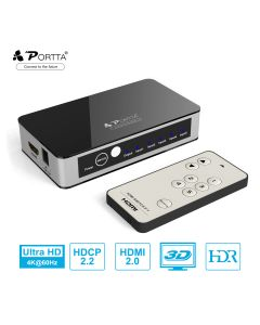 Portta® 5 ports HDMI™ Switcher with IR Wireless Remote 4K@60Hz