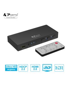 Portta® 4x1 HDMI™ Switcher with Audio+ ARC Support 4K@60Hz