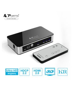 Portta® 3 Ports HDMI™ Switcher with IR Wireless Remote Support 4K@60Hz