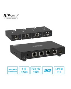 Portta® 1x4 HDMI™ Splitter Extender by Cat5e/6