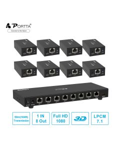 Portta® 1x8 HDMI™ Splitter Extender by Cat5e/6