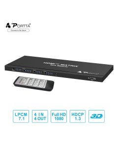Portta® 4x4 HDMI™ Matrix with Remote