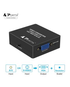 Portta® CVBS/S-Video to VGA Converter Upscaler 1080P
